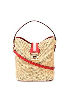 Mark Cross Murphy Woven Bucket Bag In Nude Shoulder Bags, Shoulder Strap, Mark Cross, Hand Bags, Calf Leather, Straw Bag, Bucket Bag, Nude, Handbags