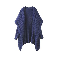 Fashion Loose Pure Color Long Sleeve Hooded Knit Sweater Shawl... ($35) ❤ liked on Polyvore featuring tops, cardigans, blue, women plus size outerwear, plus size knit tops, long sleeve cardigan, plus size knit cardigan, blue cardigan and knit top