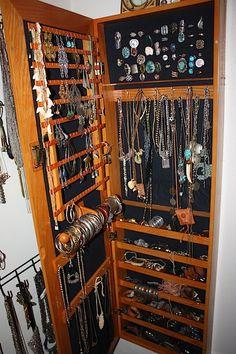 creative directorAndrea Linett's jewelry cabinet - Jewelry Organizer Jewelry Closet, Jewelry Wall, Jewelry Organizer Wall, Jewelry Cabinet, Jewelry Armoire, Wooden Jewelry, Jewellery Storage, Jewelry Organization, Hanging Jewelry