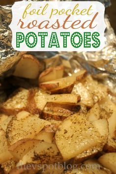 Roasting cheesy herb potatoes in foil packets. - The V Spot