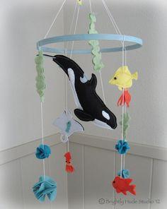 Orca Whale Wonderful Felt Mobile by BrightlyHude on Etsy, $100.00