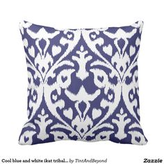 Cool blue and white ikat tribal pattern