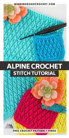 Learn to crochet the beautiful Alpine Stitch. Video tutorial by Winding Road Crochet. Stitch Crochet, Tunisian Crochet, Crochet Afghans, Learn To Crochet, Crochet Stitches, Cute Crochet, Knit Crochet, Crochet Hats, Knitting Patterns