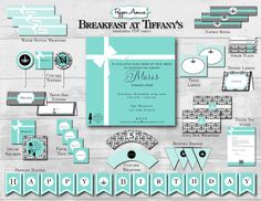 Custom Breakfast at Tiffany's Party Package - Birthday or Baby Shower - DIY Printable PDF File. $38.00, via Etsy.