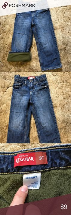 Old Navy Toddler Boys Fleece Lined Jeans Size 3T boys fleece lined jeans from Old Navy. Perfect winter pants! In great used condition. Old Navy Bottoms Jeans