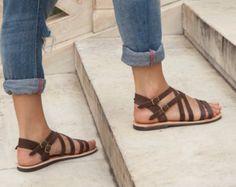 Strappy sandals for women Sandals Women Sandals Leather brown gladiator sandals Brown Gladiator Sandals, Brown Leather Sandals, Strappy Sandals, Women Sandals, Greek Sandals, Shoes Women, Flat Sandals, Cheap Sandals, Cute Sandals