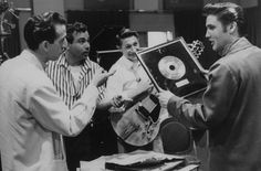 Rare intimate photographs of Elvis Presley at a Nashville recording session in 1956.