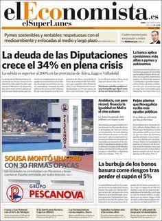 Los Titulares y Portadas de Noticias Destacadas Españolas del 3 de Junio de 2013 del Diario El Economista ¿Que le parecio esta Portada de este Diario Español?