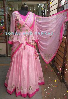 Peplum Style Blouse With Baby Pink Gotta Patti Lehenga - – Sonal & Pankaj Gota Patti Lehenga, Raw Silk Lehenga, Half Saree Lehenga, Saree Dress, Sari, Choli Designs, Blouse Neck Designs, Lehenga Designs, Dress Indian Style