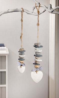 "Deco-Hanger ""Steinherz"", set of 2 – # # DekoHänger … - Home Page Driftwood Crafts, Seashell Crafts, Beach Crafts, Stone Crafts, Rock Crafts, Diy Crafts, Nature Crafts, Beach Art, Pebble Art"