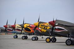 """bill-kelso-mfg: """" Sneak Attack and Parrothead/Spud Lag nestled amongst a very impressive lineup. Ww2 Aircraft, Fighter Aircraft, Military Aircraft, Nevada, Reno Air Races, Airplane Decor, Sneak Attack, Vintage Air, Vintage Travel"""