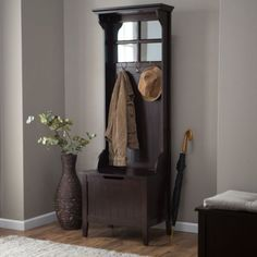 Small Entryway Hall Tree Coat Rack With Storage Bench Espresso Wood Finish