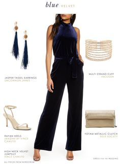 Cute outfits for the holidays! Formal navy blue velvet jumpsuit and accessories  #sponsoredpost #jumpsuit #ootd #outfitinspo #jumpsuits #holidayparty #holidayoutfits