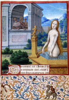 Bathsheba bathing (Book of Hours) Jean Bourdichon (1457-1521). Watercolour on parchment Created 1485-1499, France