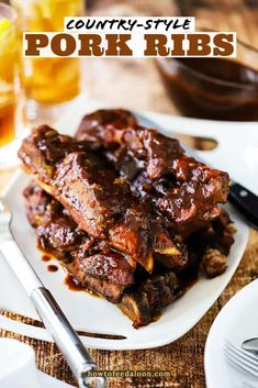 Country-Style Pork Ribs are fall-off-the-bone tender and the flavor is classic Southern BBQ taste. Nothing short of amazing! Get the complete recipe with ALL-NEW VIDEO on the blog! Diner Recipes, Rib Recipes, Grilling Recipes, Great Recipes, Oven Pork Ribs, Country Style Pork Ribs, Bratwurst Recipes, Marinated Pork Chops, Sunday Dinner Recipes