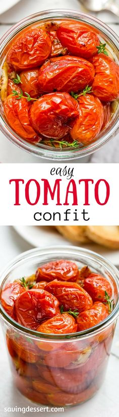 Easy Tomato Confit ~ Sweet summer tomatoes are slow cooked in the oven with olive oil, garlic, crushed red pepper and a handful of fresh thyme.  www.savingdessert.com