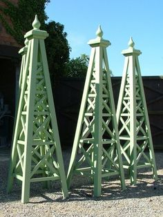 Garden Obelisks -The Steeple Obelisk is an elegant, decorative plant support, in filled with cross timbers, and topped with a Ball finial. Obelisk Trellis, Garden Trellis, Lawn And Garden, Garden Art, Gravel Garden, Garden Hose, Garden Plants, Formal Gardens, Outdoor Gardens