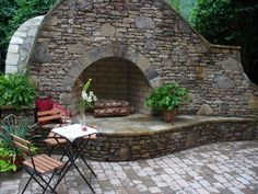 Stackstone fireplace and paver sitting area