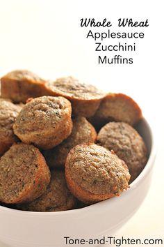Whole Wheat Applesauce Zucchini Muffins