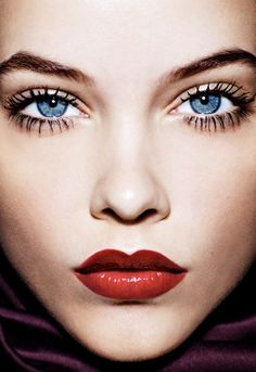 Bold red lipstick, makeup