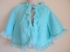 Made in California, Blue Nylon Quilted Bed Jacket, Ruffled Chiffon Trim, Size M #MadeinCalifornia