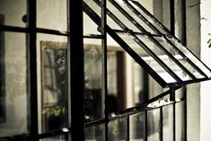 a wall of window panes