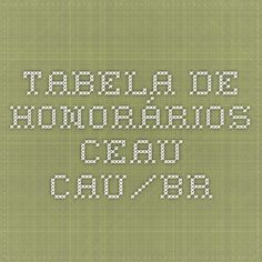 TABELA DE HONORÁRIOS CEAU - CAU/BR