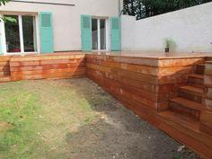 Terrasse en hauteur avec coffrage en bois tropical Outdoor Furniture, Outdoor Decor, Outdoor Storage, Patio, Home Decor, Images, Google, Nature, Garden