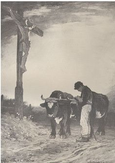 Ave Maria by Horatio Walker. Québec,roadside crucifix;