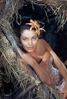 "Ava Gardner during the making of ""The Little Hut,"" directed by Mark ROBSON.1956"