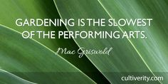 """""""Gardening is the slowest of the performing arts."""" - Mac Griswold / Gardening Quote"""