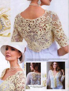 Irish Lace bolero - Crochet by Yana Irish Crochet Patterns, Lace Patterns, Crochet Designs, Zhurnal Mod, Lace Cardigan, Crochet Cardigan, Freeform Crochet, Crochet Lace, Bolero Crochet