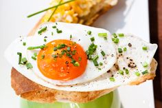 toast, egg, chives