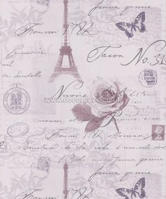 Holden Decor K2 Calligraphy Wallpaper 97751. Paris French Heather Lilac  Silver