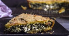 Cornmeal pie with spinach and feta by Greek chef Akis Petretzikis. An easy traditional Greek pie made with spinach feta and aromatics with a cornmeal crust! Greek Recipes, Raw Food Recipes, Snack Recipes, Snacks, Spinach Pie, Spinach And Feta, Cookie Dough Pie, Middle East Food, One Dish Dinners