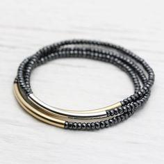 Oro cinturino lucido Set / perfetto impilabile bracciali di byjodi