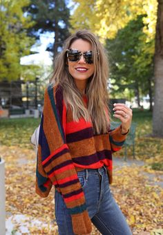 Striped sweater with bold jewel tone colors!