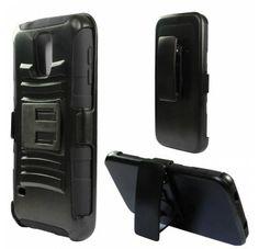 For Samsung Galaxy S5 - Heavy Duty Armor Style 2 Case w Holster - Black Black AM2H