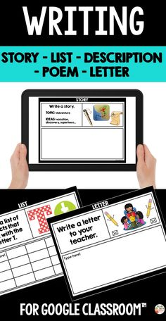 Digital writing prompts are perfect for the classroom using Google Classroom™ with their students. This resource includes 34 writing prompts that you can share with your students through Google Classroom™.  There are five category: story, list, poem, letter and description.  ⭐ STORY  ⭐ LIST  ⭐ POEM  ⭐ LETTER  ⭐ DESCRIPTION Primary Classroom, Google Classroom, Classroom Ideas, List Poem, Teaching French, Educational Activities, Teaching Tips, Classroom Management, Writing Prompts