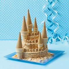 Towering Sand Castle Cake  gotta do this for the kiddos next summer!