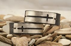 Cross Leather cuff bracelet, cut out style, one cuff on Etsy, $35.00