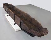 Pirogue de l'an mil découverte à Colletière. Restauration et cliché Arc-Nucléart
