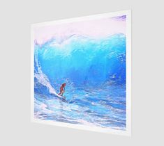 A Man Surfing [Museum Quality Fine Art Prints] Art Prints For Sale, Wall Art Prints, Fine Art Prints, Water Waves, Ocean Waves, Full Moon Phases, Large Waves, Motivational Images, Wave Art