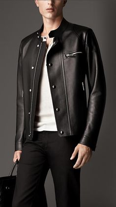 Burberry London Bonded Nappa Leather Racer Jacket