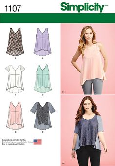 Sewing Top Simplicity Sewing Pattern 1107 Misses' tops with fabric variations. Description: Pullover top can be sleeveless, cap sleeves or elbow length sleeve - Sewing Clothes, Diy Clothes, Clothing Patterns, Dress Patterns, Vogue Patterns, Crepe Satin, Patron Simplicity, Make Your Own Clothes, Diy Couture