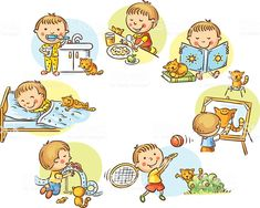 Illustration of Little boy's daily activities, no gradients vector art, clipart and stock vectors. Little Boy And Girl, Little Boys, Boy Or Girl, Daily Routine Kids, Illustration, Daily Activities, Free Vector Art, Clipart, Easy Drawings
