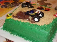 Monster Truck cake with mud - Brody's 4th