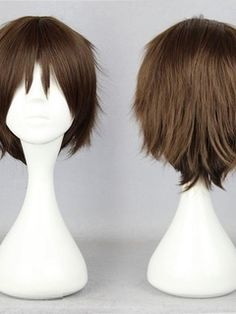 Japanese Shingeki no Kyojin Series Dark Brown Short Straight Cosplay Wigs 12 Inches