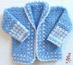 Crochet, tejidos crochet, aprender crochet, diagramas crochet, programas para crochet, reciclados crochet. Crochet Baby Sweater Pattern, Baby Boy Knitting Patterns, Crochet Baby Sweaters, Baby Girl Crochet, Crochet Baby Clothes, Crochet Jacket, Newborn Crochet, Crochet For Boys, Baby Patterns