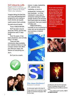 Firestarter Brochure Page 2. NLP practitioner course
